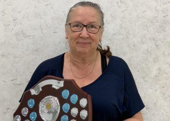 Liz Burns with her Ladies League winners' shield.
