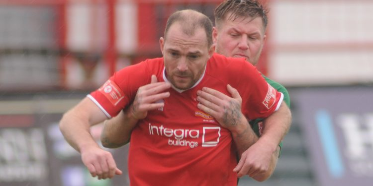 Town player-manager Brett Agnew proved a handful for the Lincoln defence. Picture: Dom Taylor.