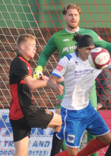 Action from Bridlington Town's thrilling FA Trophy win over Sheffield FC. Pictures: Dom Taylor.