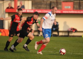Brett Agnew, in action against Sheffield last week, will again be leading the way for Bridlington Town at Tadcaster tomorrow. Picture: Dom Taylor.